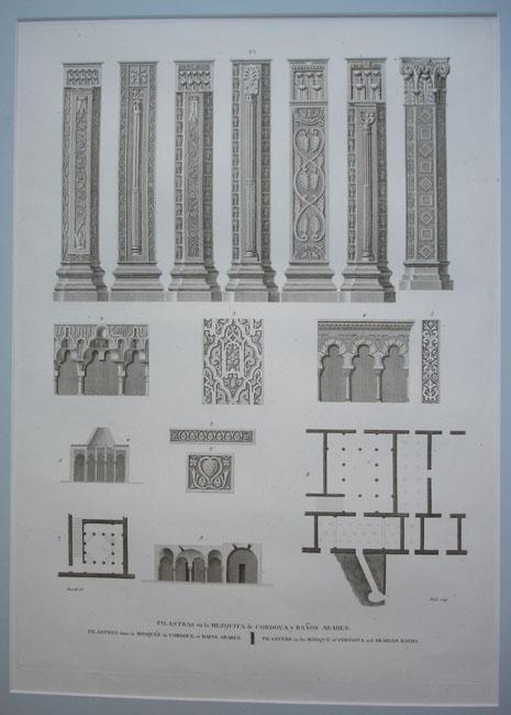 Baños Arabes Londres:Pilastras en la Mezquita de Cordova y Baños árabes  Grabado en