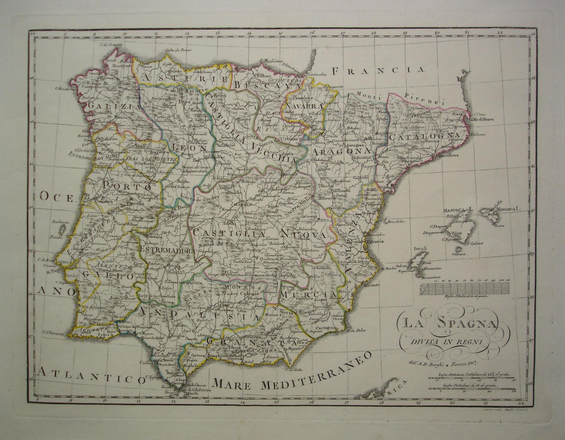 Mapa De España Antiguo.Mapa De Los Antiguos Reinos De Espana Y Portugal