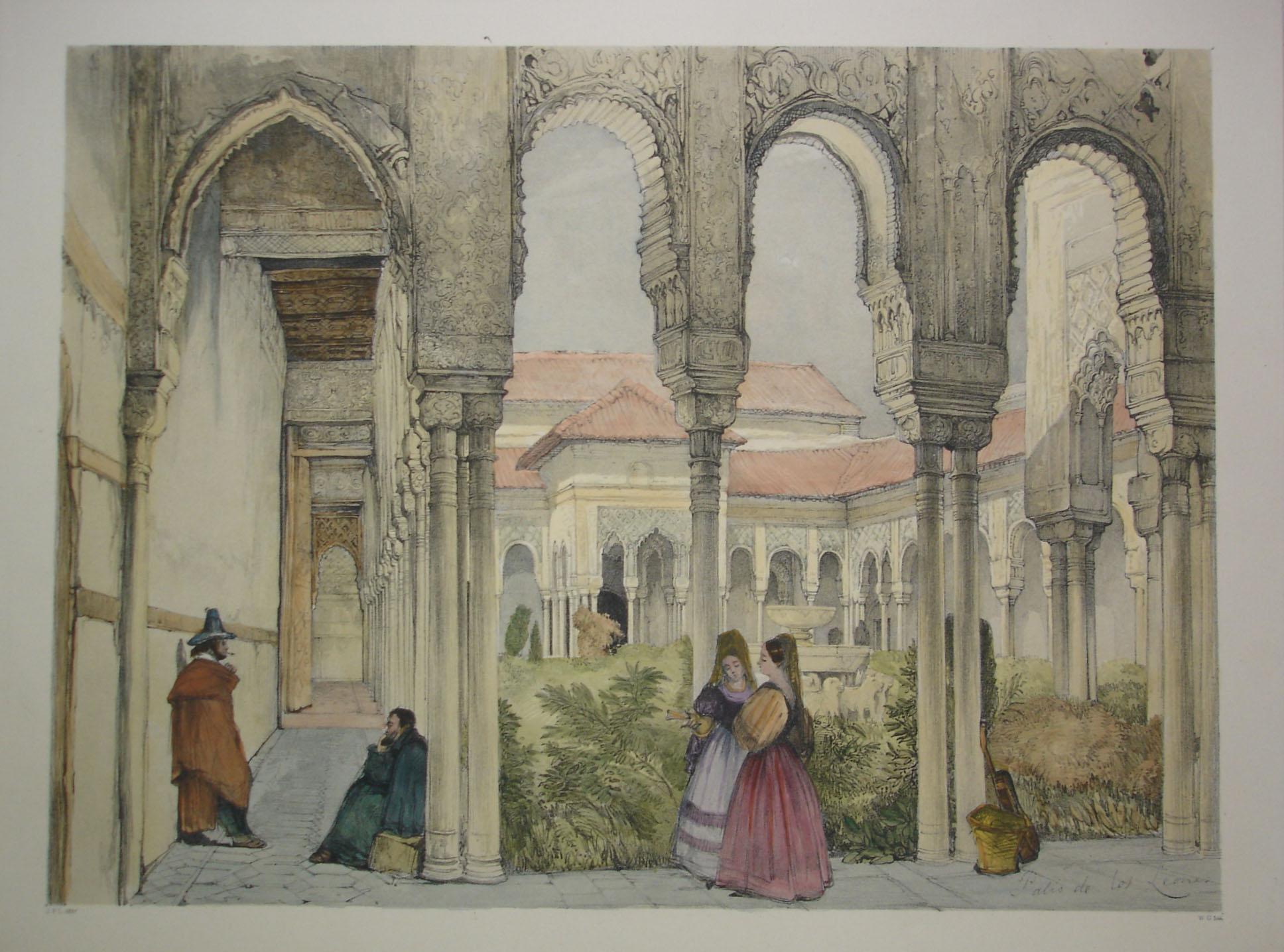 Vista Del Patio De Los Leones De La Alhambra En Granada