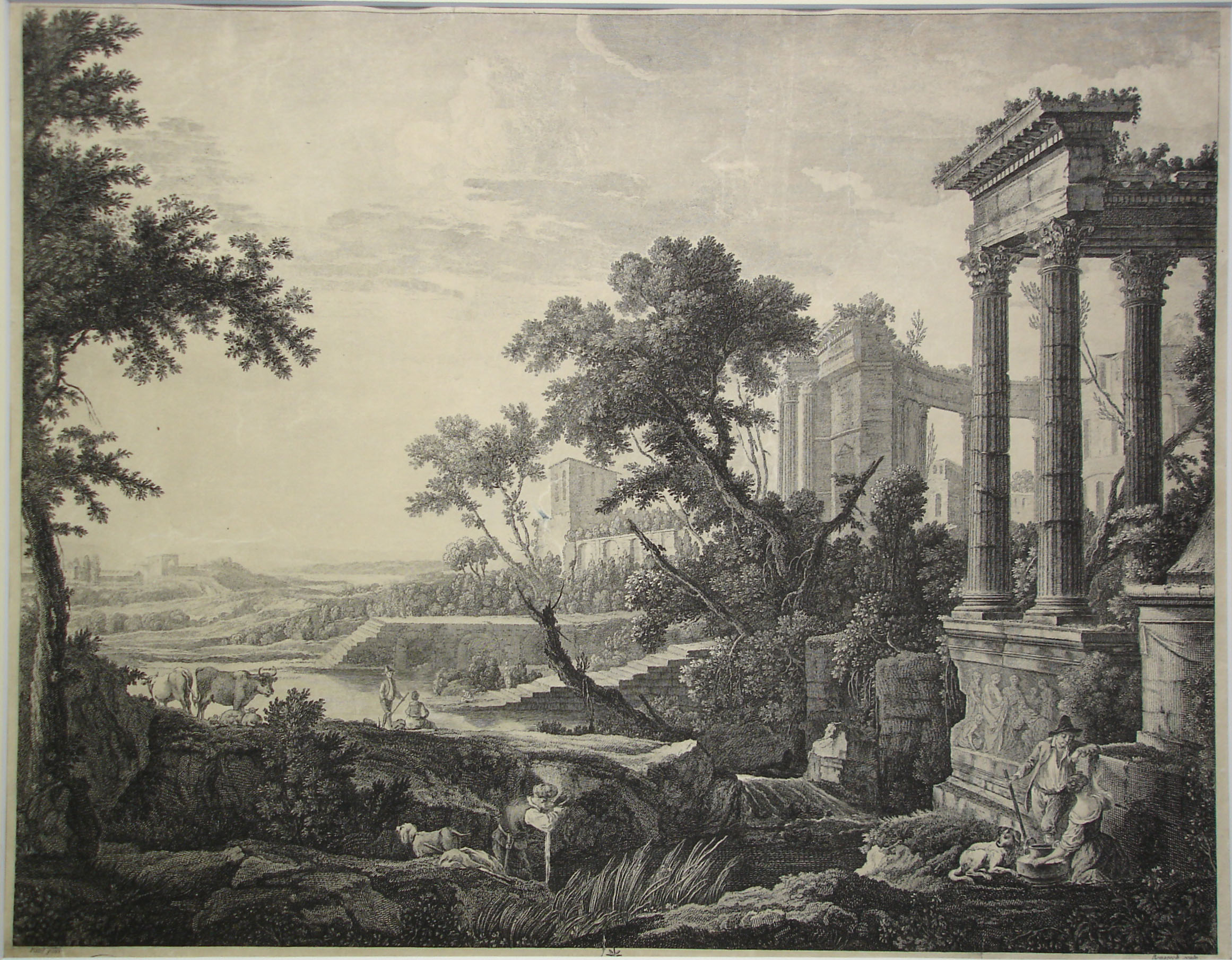 Grabado del siglo XVIII de una escena con ruinas romanas